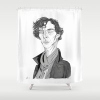 benedict Shower Curtains featuring Benedict Cumberbatch - Sherlock by Andy Christofi