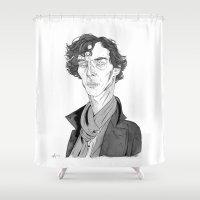 cumberbatch Shower Curtains featuring Benedict Cumberbatch - Sherlock by Andy Christofi