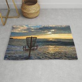 Disc Golf Basket Chesapeake Bay Virginia Beach Ocean Sunset Rug