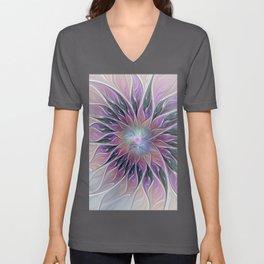 Fantasy Flower, Colorful Abstract Fractal Art Unisex V-Neck