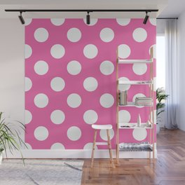 Geometric Candy Dot Circles - White on Strawberry Pink Wall Mural