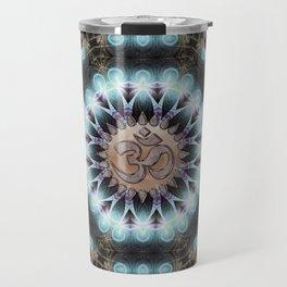Om Shanti Fractal Geometry [ earthy aqua remix ] Travel Mug