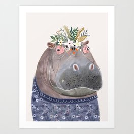 Hippo with flowers on head Art Print