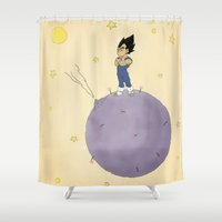 vegeta Shower Curtains featuring The Little Prince Of Saiyans by Agu Luque