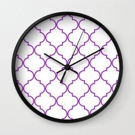 Quatrefoil - purple Wall Clock