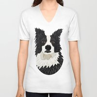 border collie V-neck T-shirts featuring Beautiful Border Collie by ArtLovePassion