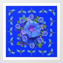 BLUE MORNING GLORIES DRAGONFLIES ART Art Print