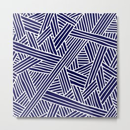 Abstract navy blue & white Lines and Triangles Pattern- Mix and Match with Simplicity of Life Metal Print