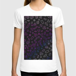 Holographic Gems Pattern Black T-shirt