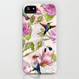 Vintage Roses and Hummingbird Pattern iPhone Case