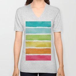 Watercolor Rainbow Stripes Unisex V-Neck