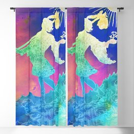 Soft Watercolor Inspired Tarot Print - The Fool - Pink and Blue Blackout Curtain