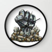minerals Wall Clocks featuring Minerals and rocks by YISHAII