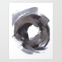 Circular Gestural Brushstroke Grey Abstract Painting Art Print
