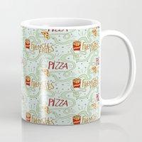 fries Mugs featuring PIZZA & FRIES by Josh LaFayette
