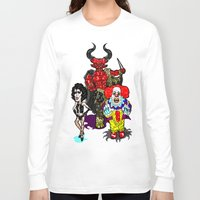 pennywise Long Sleeve T-shirts featuring Triple Tim Treat! Tim Curry as Pennywise, Legend & Frankenfurter in Rocky Horror picture Show by beetoons