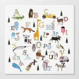 little nature alphabet Canvas Print