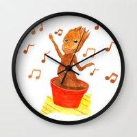 groot Wall Clocks featuring Baby Groot by gunberk