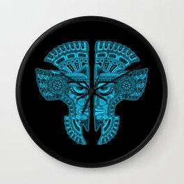 Blue and Black Aztec Twins Mask Illusion Wall Clock