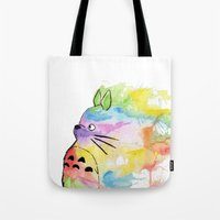 rainbow Tote Bags featuring My Rainbow Totoro by scoobtoobins