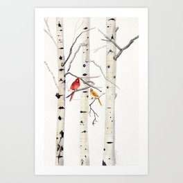 Birch Trees and Cardinal Kunstdrucke