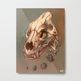 Lion Skull and Goethite Metal Print