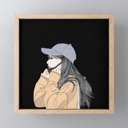 Wall art Girl wearing a health care mask Framed Mini Art Print