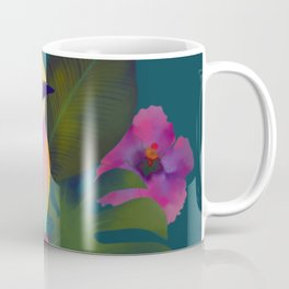 Tropical bird and exotic flowers summer painting Coffee Mug