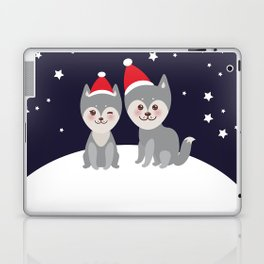 Merry Christmas New Year's card design funny gray husky dog in red hat, Kawaii face with large eyes Laptop & iPad Skin