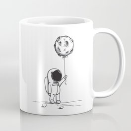 Astronaut kid holding the moon as a balloon with cosmos galaxy sky stars dreamy space picture Coffee Mug