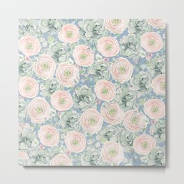 Flowers And Succulents Light Blue Metal Print