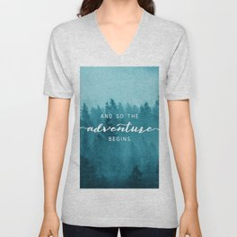 And So The Adventure Begins - Turquoise Forest Unisex V-Neck
