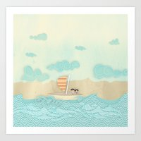 pirate ship Art Prints featuring pirate ship...  by studiomarshallarts
