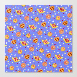 Sailor Moon Brooches Pattern - Blue / Sailor Moon Canvas Print