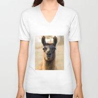 llama V-neck T-shirts featuring LLAMA by Julie Zhang