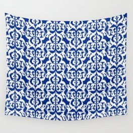Ikat Moorish Damask, Cobalt Blue and White Wall Tapestry