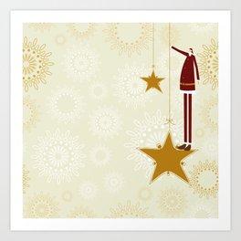 Santa Claus and christmas stars Art Print