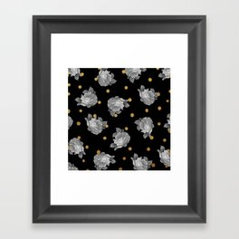 Roses and Gold Dots Framed Art Print