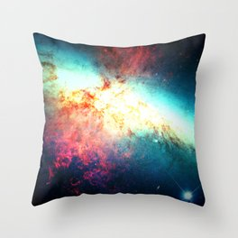 Colorful Galaxy: Messier M82 Throw Pillow