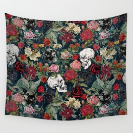 Distressed Floral with Skulls Pattern Wall Tapestry