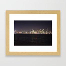 SF at night as seen from Treasure Island. Framed Art Print