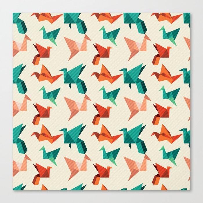 teal paper cranes Canvas Print