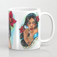 jasmine Mugs featuring Jasmine by Little Lost Forest