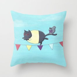 Cat on a Wire Throw Pillow