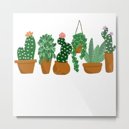 Potted Plant Friends Metal Print