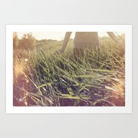 Playing in wheat Fields Art Print