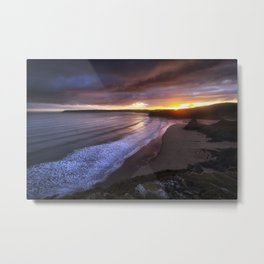 Gower sunset at Three Cliffs Bay Metal Print