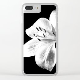 White Lily Black Background Clear iPhone Case