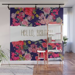 Hello Beautiful with Navy Background and Gold Text, Version2 Wall Mural