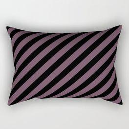 Eggplant Violet and Black Diagonal RTL Stripes Rectangular Pillow